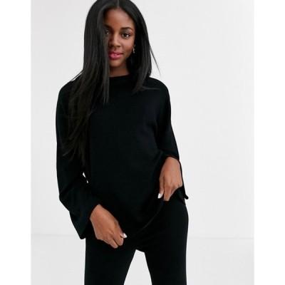 プルアンドベアー レディース ニット・セーター アウター Pull&Bear two-piece knitted top in black