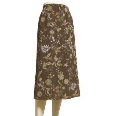 新品同様/レリアン Lelian 素敵なフレアスカート 小さいサイズ 表記7号(S相当) 茶/ブラウン 美彩ボタニカル柄 お出掛け 春夏 ボトムス