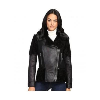 Vince Camuto ヴィンスカムート レディース 女性用 ファッション アウター ジャケット コート ライダージャケット Shearling L8301 - Black