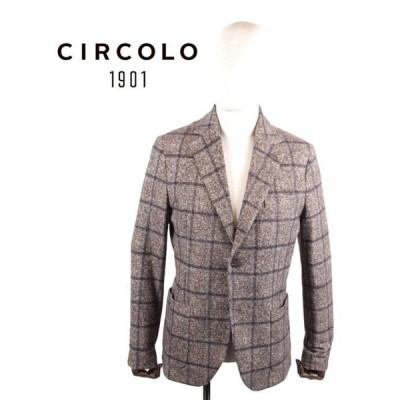 CIRCOLO1901 チルコロ1901 2Bシングルテーラードジャケット ジャージー プリント 9204A241723 GIAN 茶系 国内正規品
