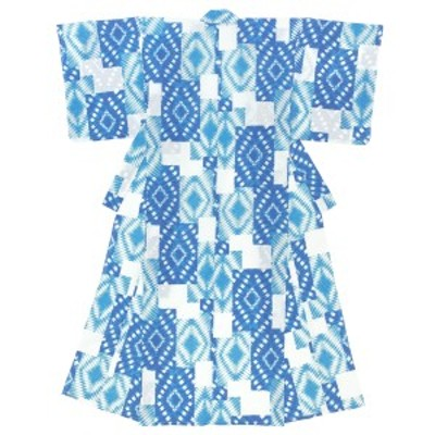 浴衣 レディース ブルー 青系 ホワイト 白 絞り染め調 変わり市松 レトロモダン 綿 絽 変わり織り 夏祭り 花火大会 女性用 仕立て上がり