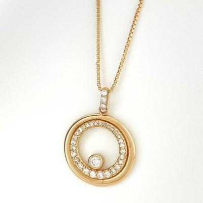 メレダイヤ デザインネックレス ?18 ピンクゴールド ペンダント ネックレス PG ダイヤモンド レディース 中古