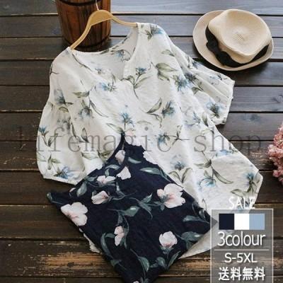 2020夏新作Tシャツレディースブラウストップス花柄カットソー半袖夏カジュアル大きいサイズゆったりオシャレきれいめ大人