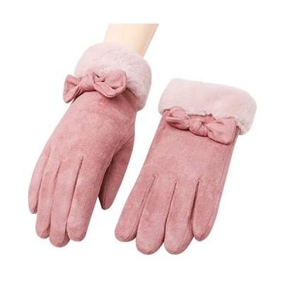 「4色」Caseeto 手袋 てぶくろ グローブ 女性用 レディース 通勤 通学 手袋 防寒 暖かい ファー付きリボン手袋 プレゼント 冬