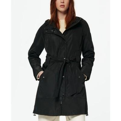 マークニューヨーク コート アウター レディース Women's Belted Poly Trench Rain Coat Black