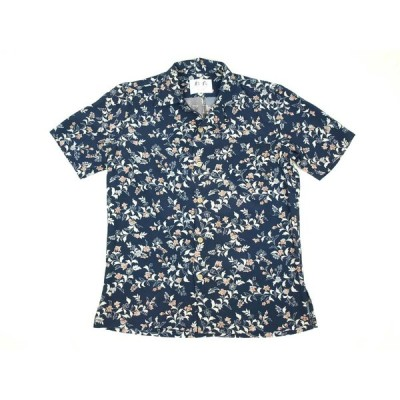 アロハシャツ 本物の着物地仕立て 着物 正絹 メンズ レディース ユニセックス 夏 海 総柄 半袖 紺色地 花柄 Sサイズ