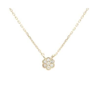(エルアンドコー)【ギフトBOX付】K10フラワーダイヤモンドペンダントネックレス66-7604