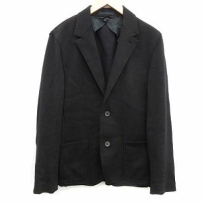 【中古】LANVIN インサイドアウトテーラードジャケット シングル 2B ノーベント ウール 44 M 黒 ●D メンズ