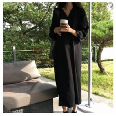 ワンピースレディース マキシワンピース ブラック シャツワンピース オーバーサイズ  マキシワンピ 40代50代 ロングドレス