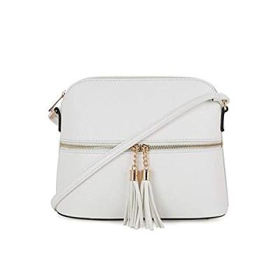 SG SUGU Lightweight Medium Dome Crossbody Bag with Tassel | Zipper Pocket |