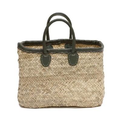 "Moroccan Straw Tote Bag w/Dark Green Leather Trim, 16""Lx7""Wx11""H - Sintra Green 並行輸入品"