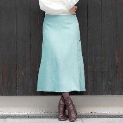 ビアッジョブルー(大きいサイズ)(Viaggio blu)/【大きいサイズ】ドットボタンスエードタッチスカート