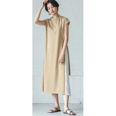 サイドプリーツ切替カットソーワンピース【la-gemme】 (ワンピース)Dress