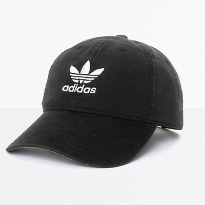 Adidas/アディダス adidas メンズ キャップ ベースボールキャップ ブラック Men's Trefoil Curved Bill Black Strapback Hat
