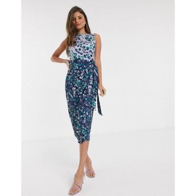 クローゼットロンドン レディース ワンピース トップス Closet London wrap pencil dress in floral mix Violet