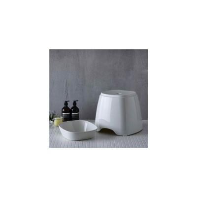 ds-2349490 【風呂おけ・椅子セット】&HAT(アンドハット)バススツール&ウォッシュボール ホワイト (ds2349490)