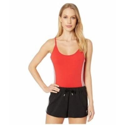 アディダス レディース シャツ トップス adiColor Cotton Bodysuit Lush Red/White