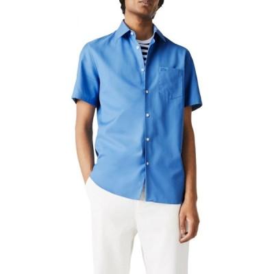 ラコステ LACOSTE メンズ 半袖シャツ トップス Regular Fit Pocket Short Sleeve Pique Button-Up Shirt Turquin Blue