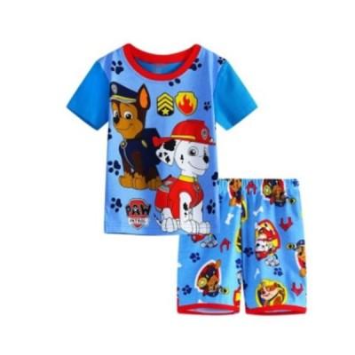 男の子 女の子 キッズ 子供 こども プリント パジャマ 半袖&短パン(パウ・パトロール)90cm〜130cm 綿100%