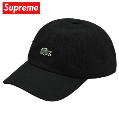 Supreme シュプリーム LACOSTE Pique 6-Panel Cap キャップ 帽子 Black ブラック 2019-2020年秋冬