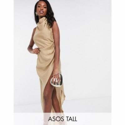 エイソス ASOS Tall レディース ワンピース マキシ丈 ワンピース・ドレス ASOS DESIGN Tall cowl neck maxi dress with open back in tex