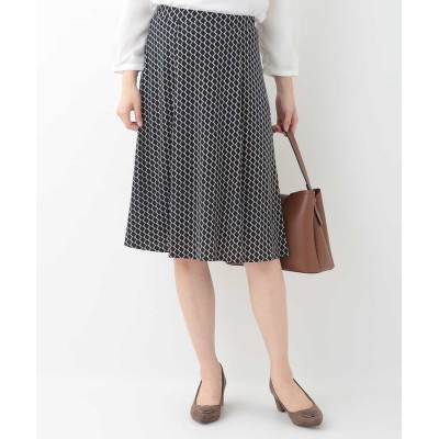 (OFUON/オフオン)【洗濯機で洗える】パターンプリントスカート/レディース ネイビー