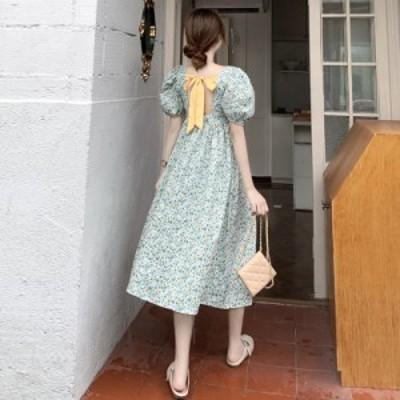 花柄 ワンピース ロング Aラインロングワンピース バックリボン ドレス ワンピース パフスリーブスカート
