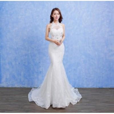 韓国 高品質 激安 ウェディングドレス 結婚式 マーメイドドレス ロング 二次会 パーティードレス 司会者 演出服 白 ホワイト 撮影