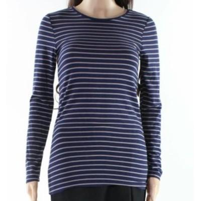 ファッション トップス Halogen NEW Blue Womens Size Small PS Petite Striped Stretch Tee T-Shirt