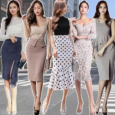 高品質 韓国ファッション OL、正式な場合、礼装ドレス セクシーなワンピース、一字肩 二点セット、側開、深いVネック やせて見える、ハイウエスト半袖ドレス スカート結婚式 ドレスリネンワンピース