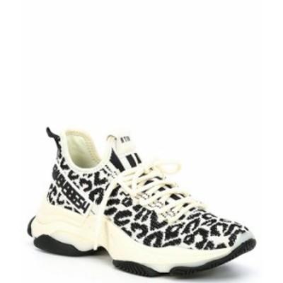 スティーブ マデン レディース スニーカー シューズ Maxima Leopard Print Rhinestone Detail Chunky Sole Knit Sneakers Leopard