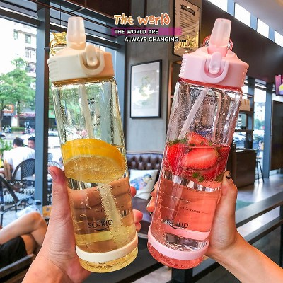 トレーニングカップ女子ネット赤かわいい携帯ストラップ大容量スポーツジムの水筒大人妊婦ストローカップ