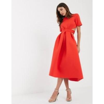 エイソス レディース ワンピース トップス ASOS DESIGN t-shirt belted cut out midi skater dress in red Red