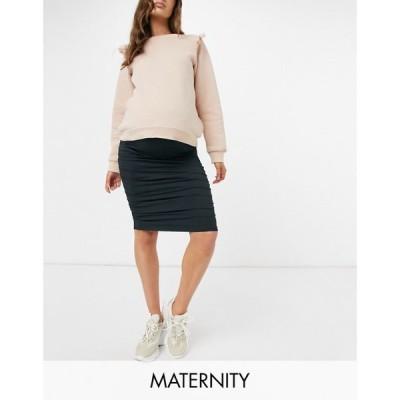 ママリシャス Mama.licious レディース ひざ丈スカート マタニティウェア ボディコン Mamalicious Maternity Bodycon Midi Skirt With Ruched Side In Black