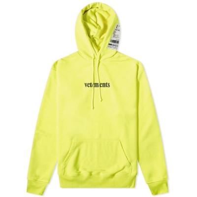 ヴェトモン VETEMENTS メンズ パーカー トップス Logo Hoody Fluro Yellow