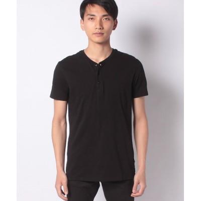 【シスレー】 スラブヘンリーネック半袖Tシャツ・カットソー メンズ ブラック S(国内M相当) SISLEY