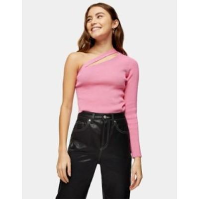 トップショップ レディース シャツ トップス Topshop spliced one shoulder sweater in pink Pink