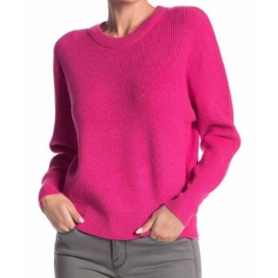 neon ネオン ファッション トップス ELODIE Womens Neon Pink Size Large L Ribbed Trim Crewneck Sweater