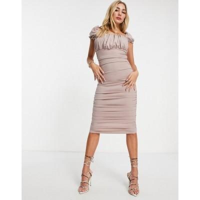 アックスパリス AX Paris レディース ワンピース ミドル丈 ワンピース・ドレス Square Neck Midi Dress In Pink ライトベージュ