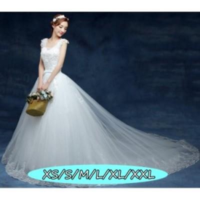 ウェディングドレス 結婚式ワンピース きれいめ Vネック 編み上げタイプ 花嫁 ドレス Aラインワンピース 優雅 ホワイト色