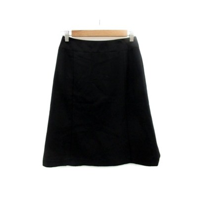【中古】ナチュラルビューティーベーシック NATURAL BEAUTY BASIC スカート フレア ミモレ丈 ストライプ柄 L 黒 ブラック /SM33 レディース 【ベクトル 古着】