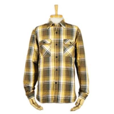 ヘビーネルシャツ イエロー (ワンウォッシュ) - Heavy Nel L/S shirts Yellow check (ONE-WASH)