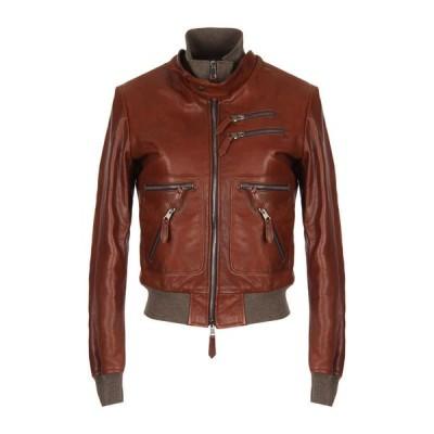 GIOCASTA レザーブルゾン ファッション  レディースファッション  コート  その他コート ココア
