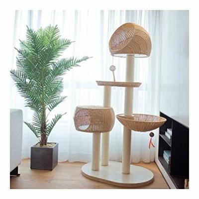 キャットタワー突っ張り猫タワー米色 麻縄巻 組み立て式 キャットタワー人 (新古未使用品)