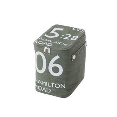 ストレージボックス/蓋付き収納箱 【ハーフサイズ グリーン】 幅18cm×奥行26cm×高さ23cm ファスナー付き FKG-259GR