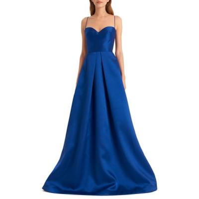 モニーク ルイリエ レディース ワンピース トップス Sapphire Sweetheart Spaghetti-Strap Gown with Full Skirt