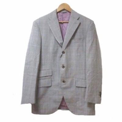 【中古】麻布テーラー azabu tailor ジャケット 上着 テーラード 3B チェック HOLLAND&SHERRY ウール 本切羽 サイドベンツ 胸ポケット