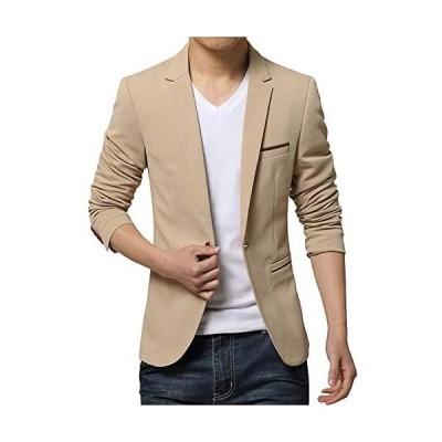 (TOPSKY)ジャケット メンズ カジュアル ビジネス 細身 テーラードジャケット ブレザー メンズ (ベージュ L)