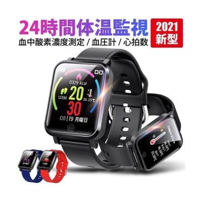 母の日 2021年新型 パルスオキシメーター 機能付きスマートウォッチ 1個 体温計機能付き 血中酸素濃度計 血圧 iphone android 対応  腕時計