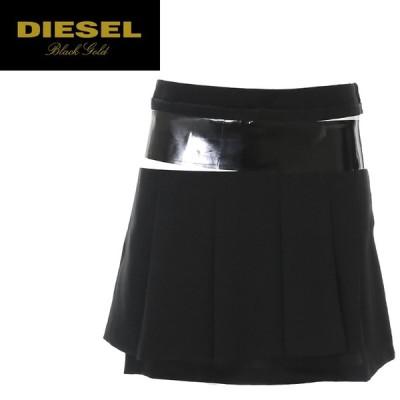 ディーゼルブラックゴールド DIESEL BLACK GOLD マイクロミニスカート レディース ヒップハンガー プリーツ テープアクセント OTLEM